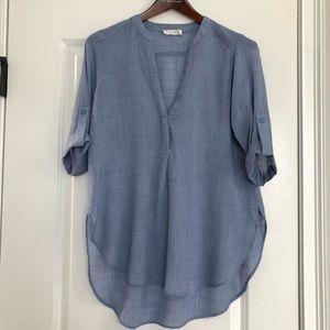 Lush Sheer Blue Tunic Top